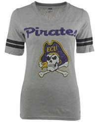 Soffe Women's Short Sleeve East Carolina Pirates V Neck T Shirt Gray