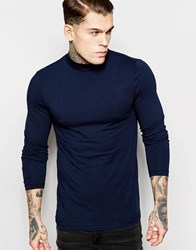 Asos Muscle Long Sleeve Top With Turtle Neck In Navy