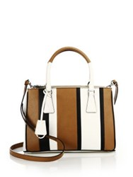 Prada Baiadera Saffiano Leather Double Zip Tote Caramel White