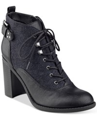 Indigo Rd. Spicy Lace Up Oxford Booties Women's Shoes Black Charcoal