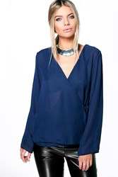Boohoo Wrap Over Chiffon Long Sleeve Blouse Navy