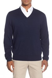 Brooks Brothers 'Saxxon' V Neck Sweater Blue