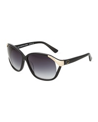 O By Oscar De La Renta Vented Rectangle Plastic Sunglasses W Golden Detail Black