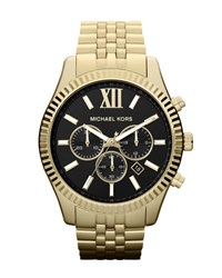Oversized Golden Stainless Steel Lexington Three Hand Watch Michael Kors