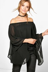 Boohoo Volume Sleeve Sheer Bardot Tunic Black