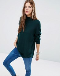 Asos Tunic With High Neck In Cashmere Mix Forest Green