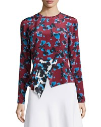 Tanya Taylor Penelope Cropped Ink Spot Top Red
