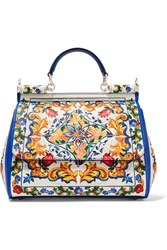 Dolce And Gabbana Sicily Medium Printed Textured Leather Tote White