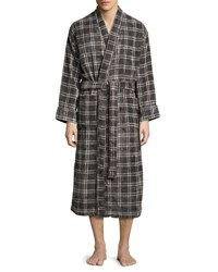 Majestic International Plaid Velour Terry Robe Charcoal