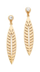 Rebecca Minkoff Safari Haze Large Leaf Earrings Gold Crystal