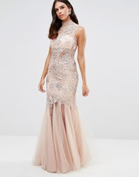 Forever Unique Kassidy Embellished Maxi Dress With Net Skirt Nude Cream