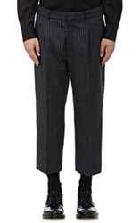 Alexander Mcqueen Flannel Crop Trousers Black