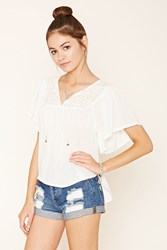 Forever 21 Gauze Peasant Top