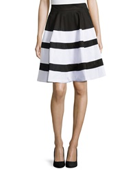 Neiman Marcus Striped A Line Skirt Black White