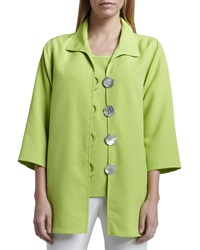 Caroline Rose Shantung Big Button Shirt Petite