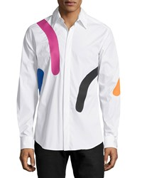 Versace Abstract Print Long Sleeve Dress Shirt White Multi