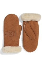 Uggr Women's Ugg Australia 'Heritage Logo' Genuine Shearling And Suede Mittens Chestnut