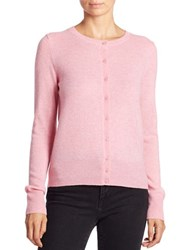 Lord And Taylor Basic Crewneck Cashmere Cardigan Serene Pink Heather