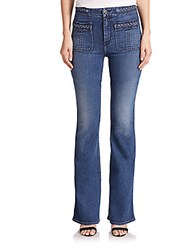 7 For All Mankind Braided Flared Jeans Vivid Denim