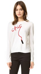 Milly Chic Intarsia Cashmere Sweater White