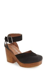 Free People Women's 'Walk This Way' Ankle Strap Clog Sandal Black Leather