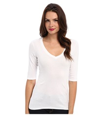 Michael Stars Supima Elbow Sleeve Vee Neck White Women's T Shirt