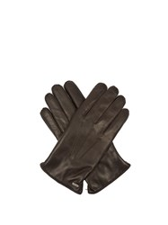 Dolce And Gabbana Cashmere Lined Leather Gloves Brown