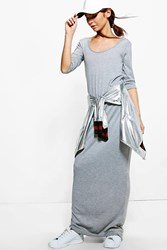 Boohoo 3 4 Sleeve Scoop Neck Maxi Dress Grey