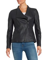 Via Spiga Leather Moto Jacket Navy Blue