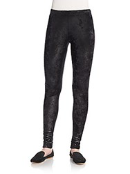 Junya Watanabe Shimmer Velvet And Faux Leather Leggings Black