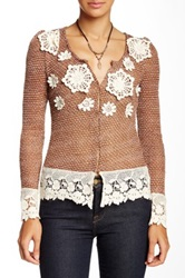 Ryu Open Knit Applique Sweater Brown