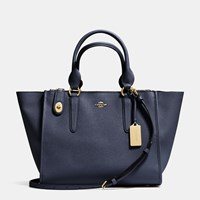Coach Crosby Carryall In Crossgrain Leather Light Gold Navy