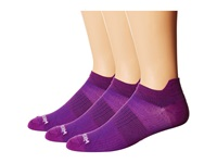 Wrightsock Coolmesh Ii Tab 3 Pack Deep Plum Low Cut Socks Shoes Purple