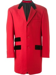 Moschino Vintage Velvet Pocket Coat Red