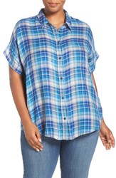Lucky Brand Plus Size Women's Plaid Short Sleeve Shirt Blue Multi