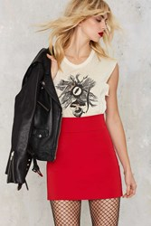 Nasty Gal Get Nervous High Waisted Skirt Red