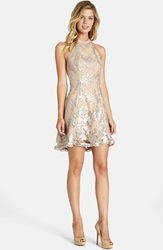 Dress The Population 'Abbie' Sequin Fit And Flare Dress Silver Nude