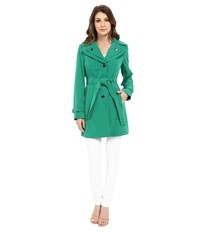 Calvin Klein Double Collar Single Breasted Belted Trench Kelly Green Women's Coat