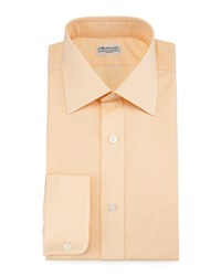 Charvet Micro Houndstooth Barrel Cuff Dress Shirt Orange Women's