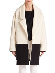 Apiece Apart Classic Two Tone Wool Vita Coat Black White