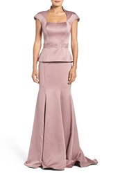 La Femme Women's Mock Two Piece Satin Gown