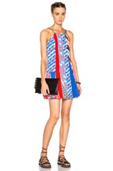 Kenzo Houndstooth Poly Dress In Blue Red Geometric Print