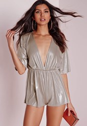 Missguided Metallic Plunge Playsuit Gold Gold