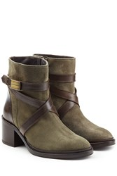 Dsquared2 Suede Ankle Boots With Contrast Leather Straps Green