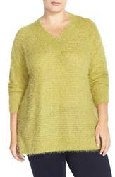 Plus Size Women's Sejour 'Happy' Eyelash Yarn V Neck Sweater Olive Lentil