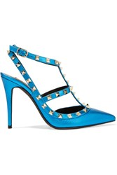 Valentino Rockstud Embellished Metallic Textured Leather Pumps Bright Blue