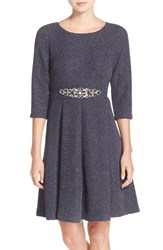 Eliza J Women's Embellished Sparkle Knit Fit And Flare Dress