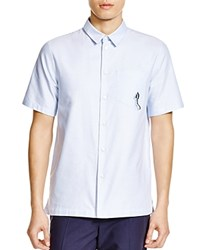 Carven Embroidered Pocket Slim Fit Button Down Shirt Ciel