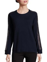 The Kooples Wool And Cashmere Lace Inset Pullover Navy