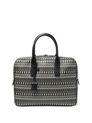 Saint Laurent Museum Skeletons Calf Leather Briefcase Black White